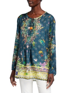 Johnny Was Sami Printed Silk Pintuck Front Long-Sleeve Tunic