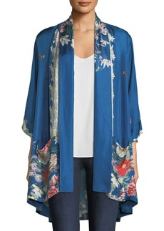 Johnny Was Samira Long Floral-Print Silk Kimono Jacket