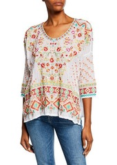 Johnny Was Sandra Embroidered Dolman-Sleeve Georgette Top