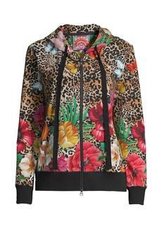 Johnny Was Sandra Floral Leopard-Print Full-Zip Hoodie