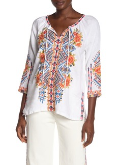 Johnny Was Sentrie Embroidered Peasant Top