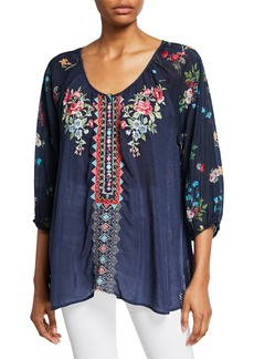 Johnny Was Sheera Embroidered 3/4-Sleeve Georgette Blouse w/ Floral Printed Back