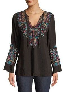 Johnny Was Petite Sheesoh Georgette Blouse w/ Embroidery