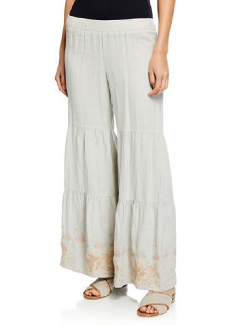 Johnny Was Sienne Wide-Leg Tiered Linen Palazzo Pants w/ Embroidered Hem