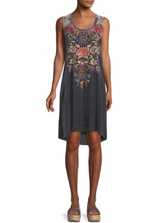 Johnny Was Simona Embroidered Velvet Tank Dress