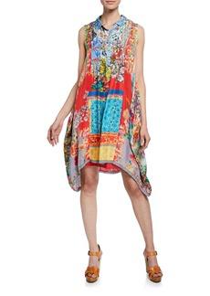 150918004b2 Johnny Was Sky Mix-Print Sleeveless A-Line Silk Twill Dress