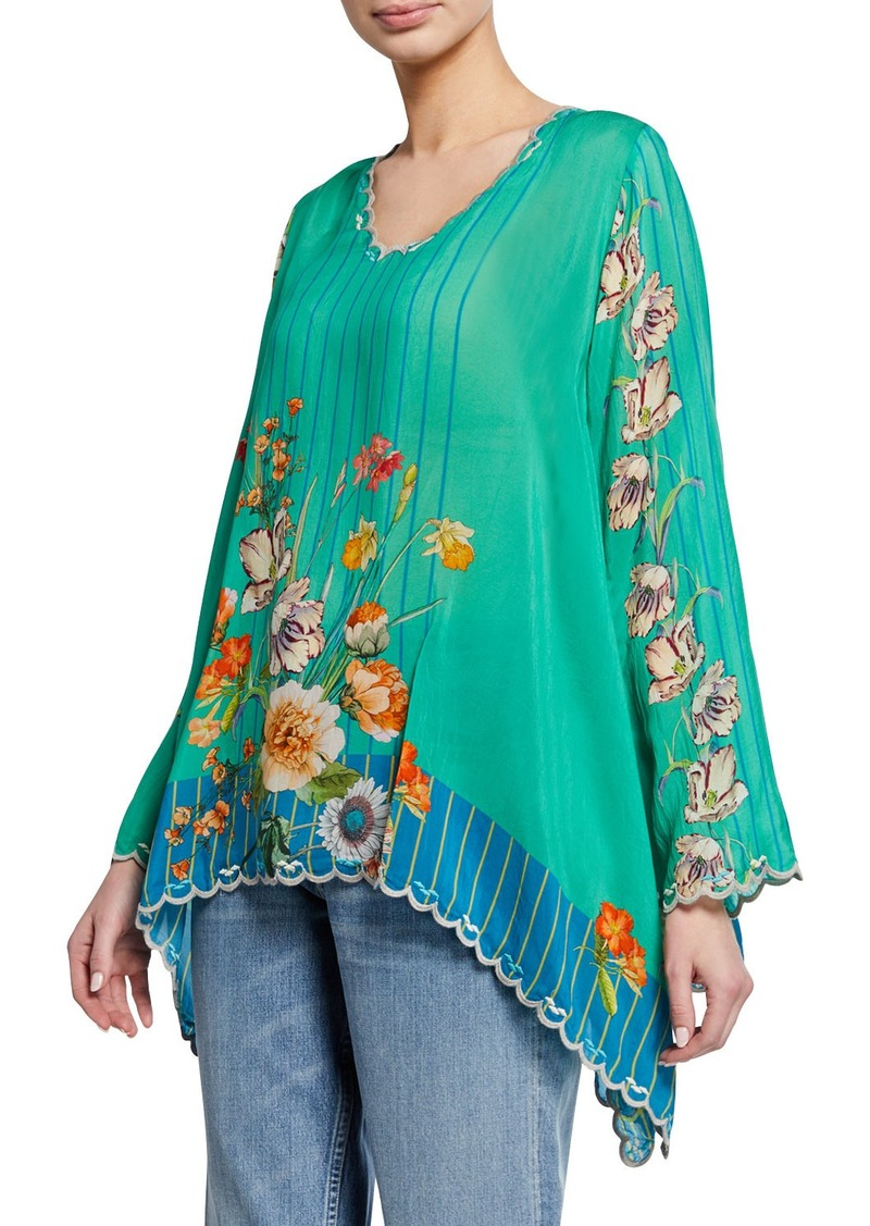 Johnny Was Stella Floral-Print V-Neck Flare-Sleeve Georgette Blouse