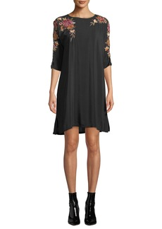Johnny Was Sterling Floral-Embroidered Shift Dress