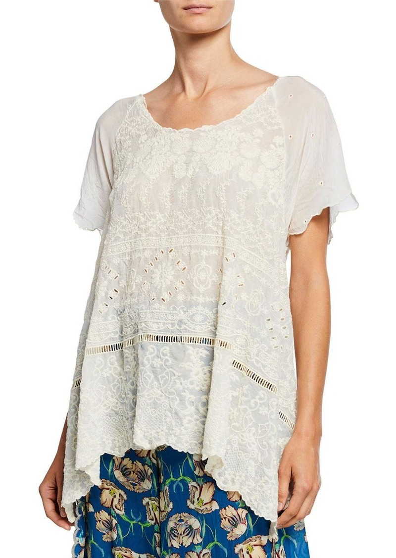 Johnny Was Sutera Embroidered Eyelet Short-Sleeve Scallop Tunic