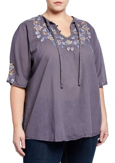 Johnny Was Tanya Tonal Voile Blouse  Plus Size