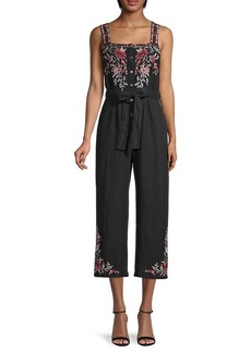 Johnny Was Tashia Cropped Linen Jumpsuit