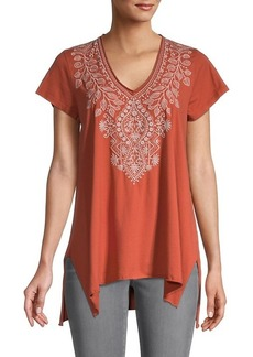 Johnny Was Tasya Embroidery Draped Top
