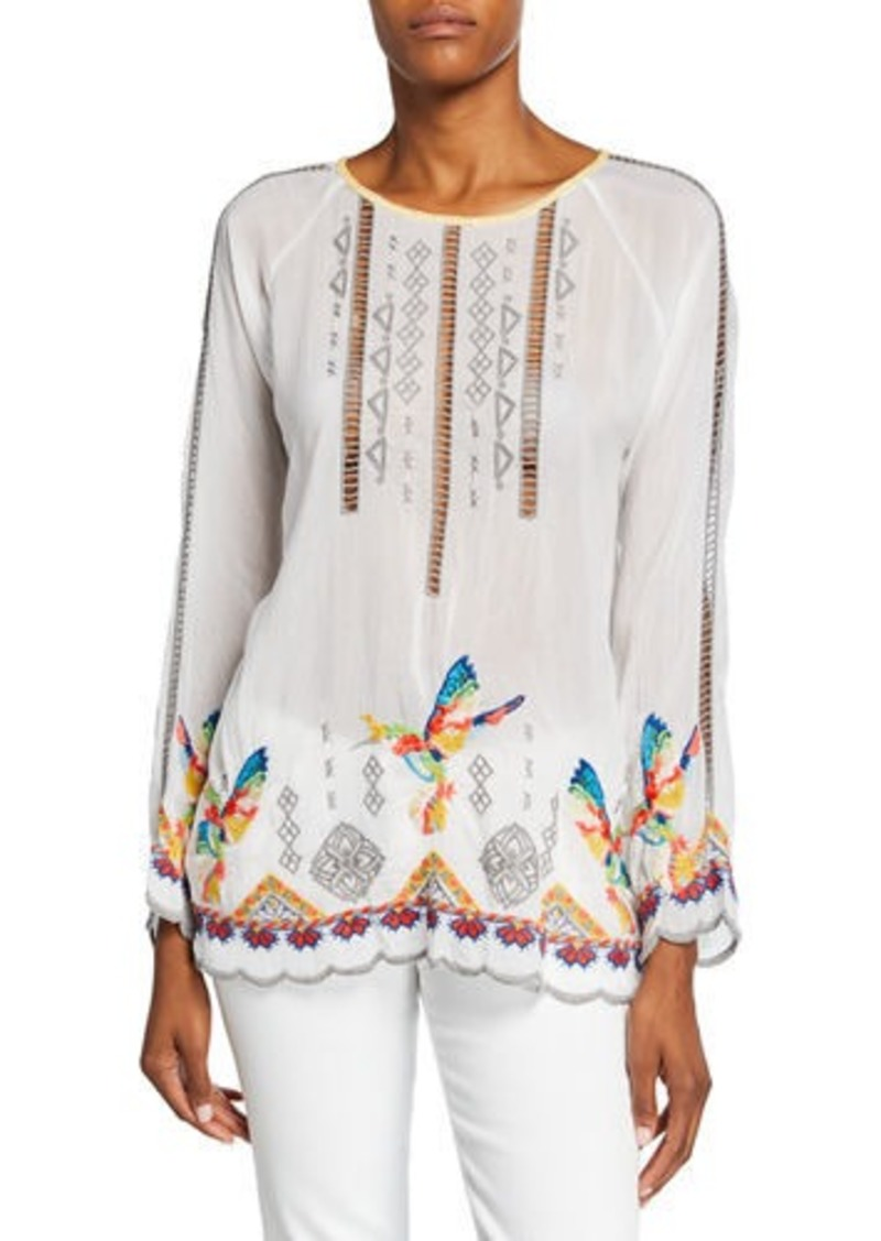 Johnny Was Tessa Embroidered Long-Sleeve Georgette Blouse w/ Hummingbirds