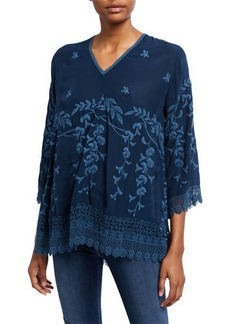 Johnny Was Teyanna Crochet-Edge Tunic