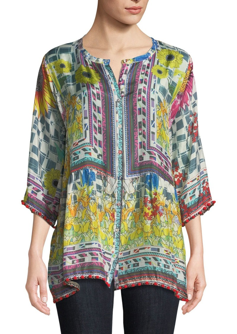 Johnny Was Theda Printed Tunic w/ Pompom Trim  Petite