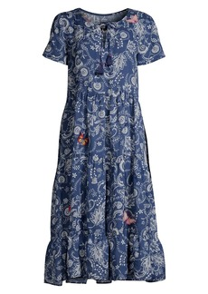 Johnny Was Tiered Floral Midi Dress