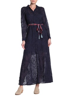 Johnny Was Tina Belted Embroidered Maxi Shirt Dress