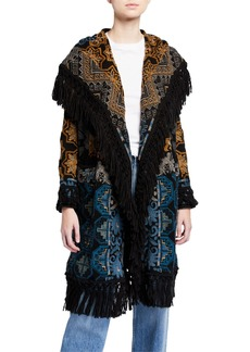 Johnny Was Tokley Embroidered Hoodie Jacket with Fringe Trim