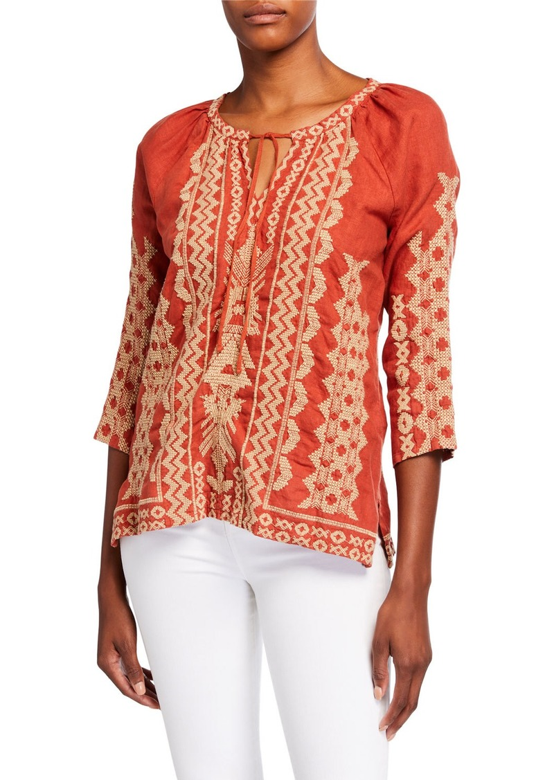 Johnny Was Tracy Embroidered 3/4-Sleeve Linen Peasant Blouse