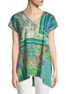 Johnny Was Trends Drapey Short-Sleeve Printed Top
