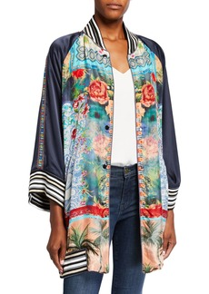 Johnny Was Tropical Reversible Button-Front Kimono
