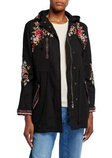 Johnny Was Valentina Hooded Military Jacket with Embroidery