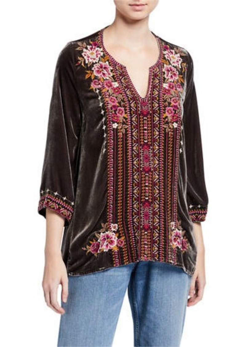 Johnny Was Valmere Embroidered 3/4-Sleeve Velvet Flutter Top