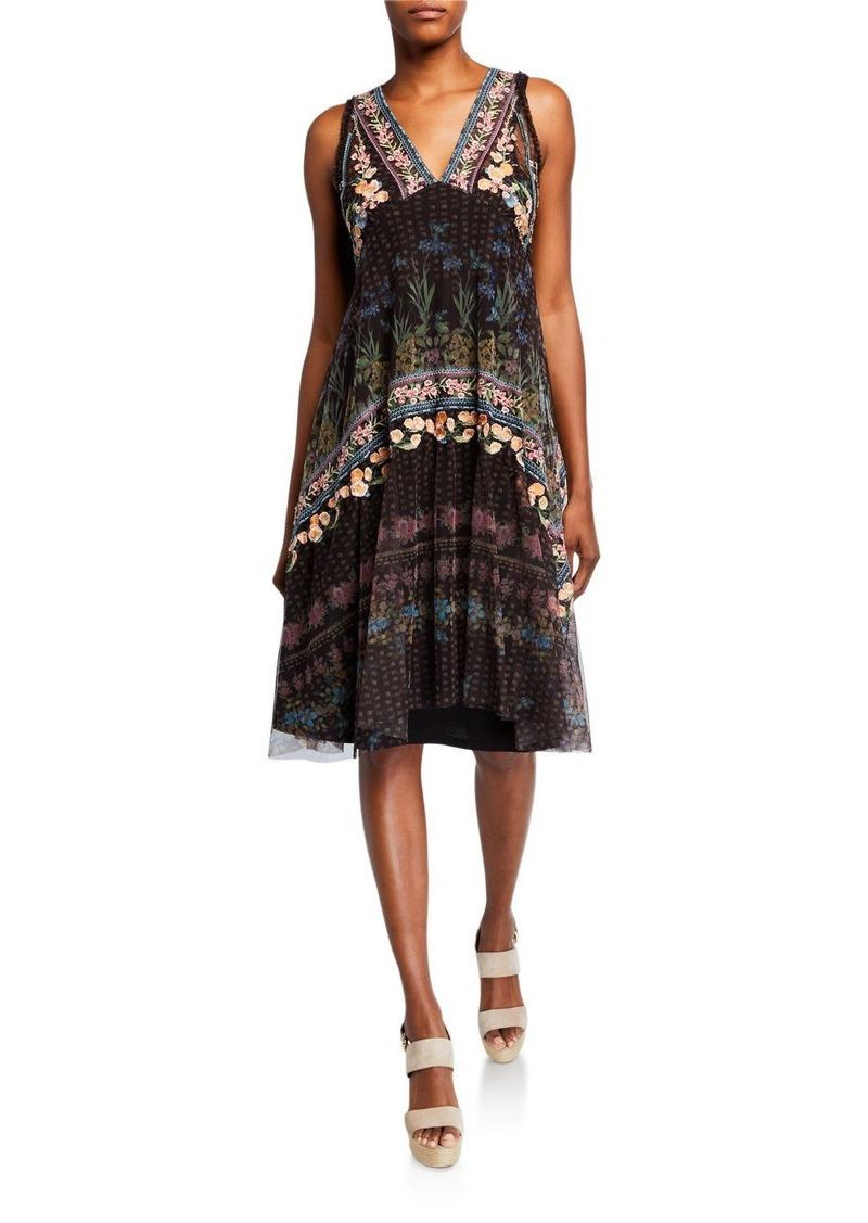 Johnny Was Vatusia Printed Mesh V-Neck Sleeveless Dress