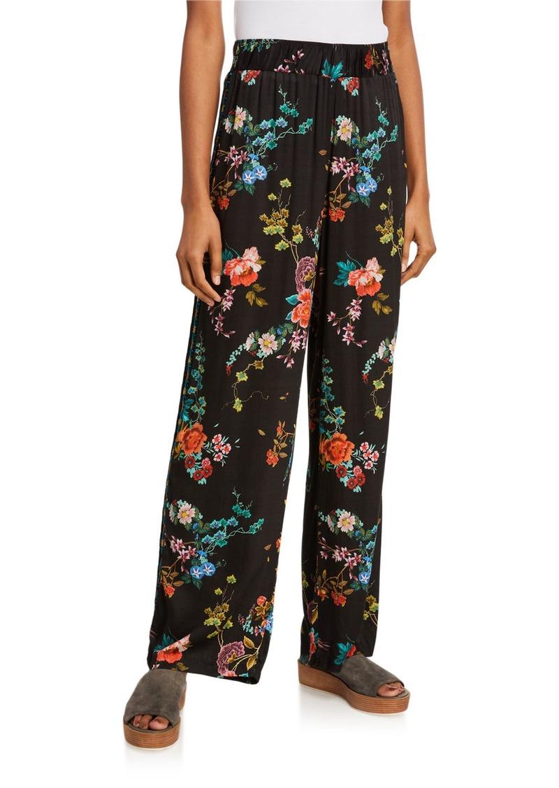 Johnny Was Velvet Floral Print Pull-On Pants