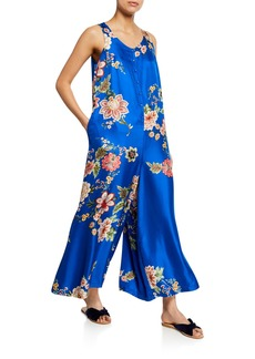 Johnny Was Vivian Floral-Print Button-Front Sleeveless Silk Twill Jumpsuit