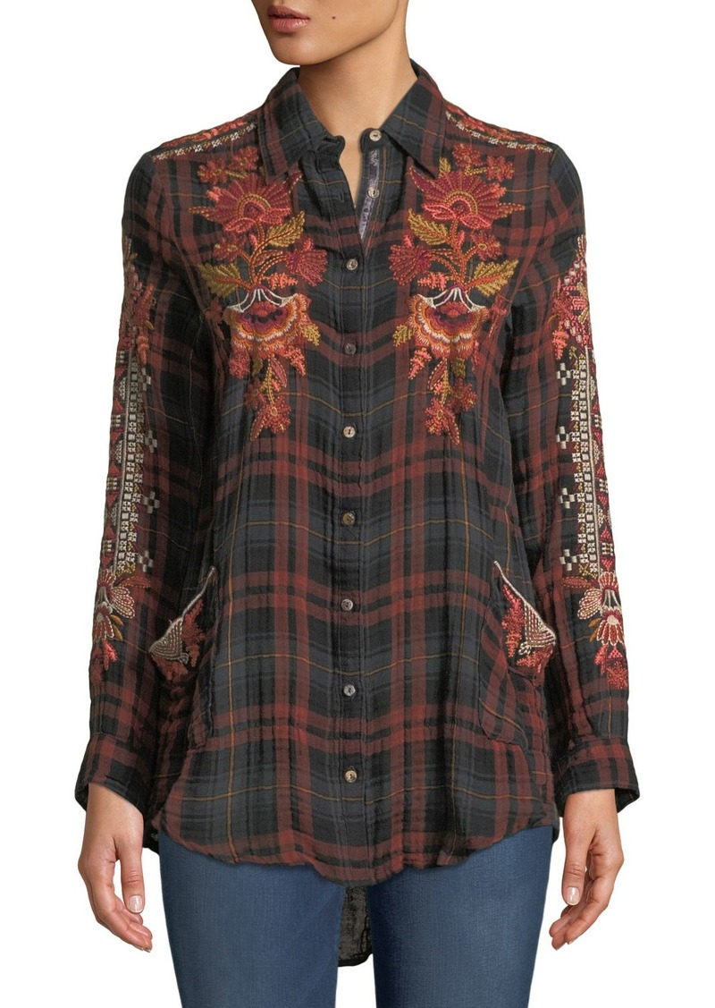 Johnny Was Warner Painters Smocked Embroidered Plaid Button-Down Shirt