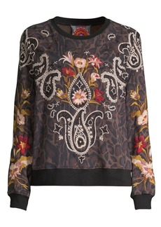 Johnny Was Wendy Raglan Embroidered Sweatshirt