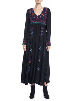 Johnny Was Werrin Embroidered Maxi Dress w/ Embroidery