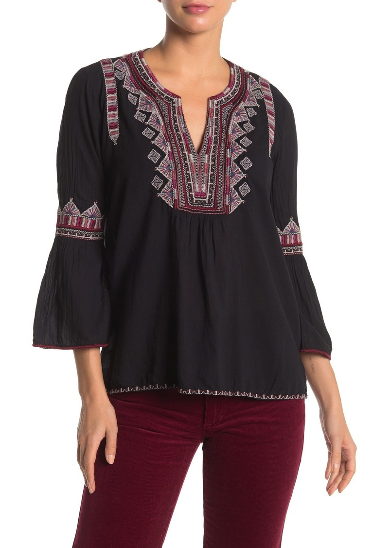 Johnny Was Willow Embroidered Bell Sleeve Blouse