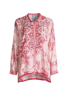 Johnny Was Wilton Embroidered Silk Blouse