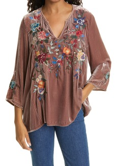 Women's Johnny Was Pina Embroidered Velvet Top