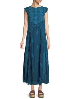 Johnny Was Xanafa Cap-Sleeve Rayon Georgette Maxi Dress