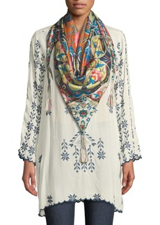 Johnny Was Xandre Stitched Rayon Georgette Long Tunic