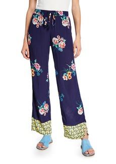 Johnny Was Zaline Challis Floral-Print Pants