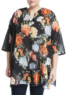 Johnny Was Ziana Half-Sleeve Floral Tunic