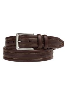 Johnston & Murphy Center Scored Leather Belt