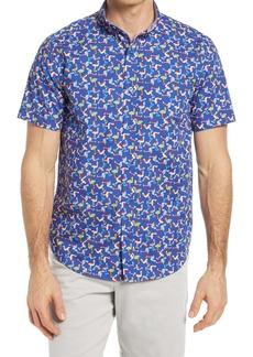 Johnston & Murphy Flamingo Print Short Sleeve Button-Down Shirt