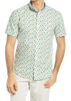 Johnston & Murphy Pineapple Print Short Sleeve Button-Down Shirt