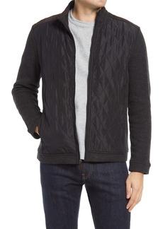 Johnston & Murphy Quilted Panel Zip Cardigan Sweater