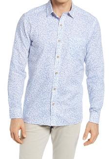 Johnston & Murphy Shark Print Linen & Cotton Button-Up Shirt