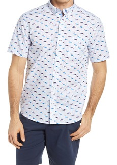 Johnston & Murphy Shark Print Short Sleeve Button-Down Shirt