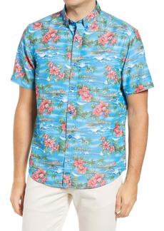 Johnston & Murphy Silky Short Sleeve Button-Down Shirt