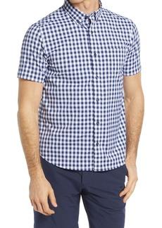Johnston & Murphy XC4 Gingham Stretch Short Sleeve Button-Down Shirt