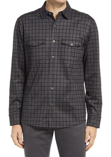 Men's Johnston & Murphy Plaid Knit Button-Up Shirt