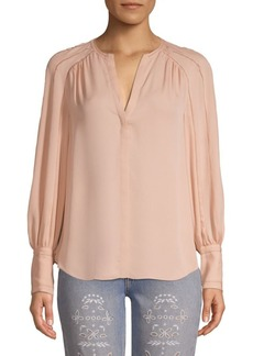 Joie Aban Embroidered Collarless Blouse
